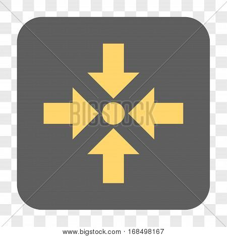 Shrink Arrows interface toolbar button. Vector icon style is a flat symbol in a rounded square button yellow and gray colors chess transparent background.