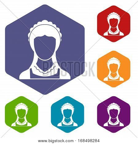 Cleaning household service maid icons set rhombus in different colors isolated on white background