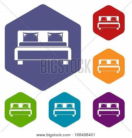 Double bed icons set rhombus in different colors isolated on white background