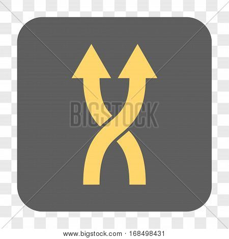 Shuffle Arrows Up interface toolbar button. Vector icon style is a flat symbol on a rounded square button yellow and gray colors chess transparent background.