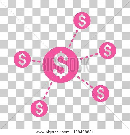 Dollar Network Nodes icon. Vector illustration style is flat iconic symbol, pink color, transparent background. Designed for web and software interfaces.