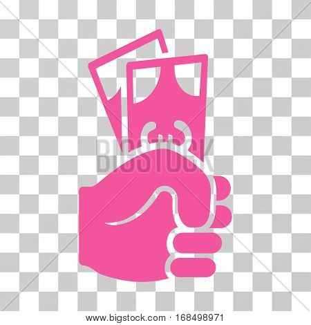Euro Banknotes Salary icon. Vector illustration style is flat iconic symbol, pink color, transparent background. Designed for web and software interfaces.