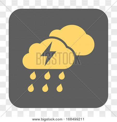 Thunderstorm Clouds interface toolbar button. Vector icon style is a flat symbol on a rounded square button yellow and gray colors chess transparent background.