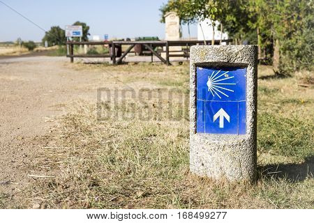 way of Saint James signpost in the countryside