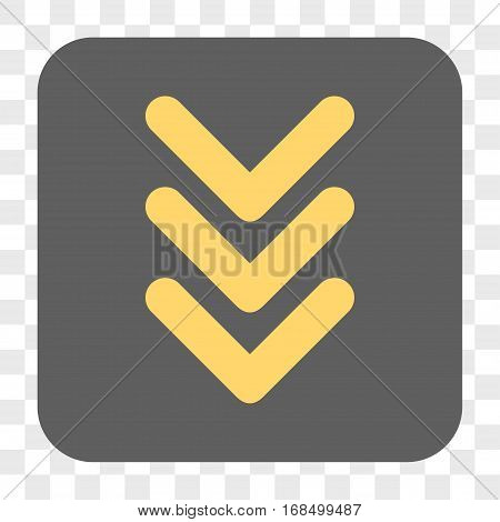 Triple Arrowhead Down interface toolbar button. Vector icon style is a flat symbol on a rounded square button yellow and gray colors chess transparent background.