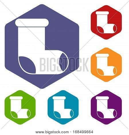 Felt boot icons set rhombus in different colors isolated on white background