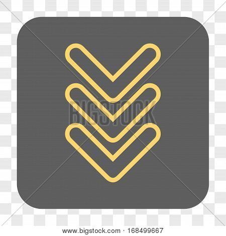 Triple Pointer Down interface toolbar button. Vector icon style is a flat symbol in a rounded square button yellow and gray colors chess transparent background.