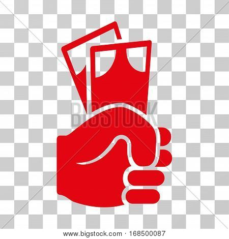 Banknotes Salary Hand icon. Vector illustration style is flat iconic symbol, red color, transparent background. Designed for web and software interfaces.