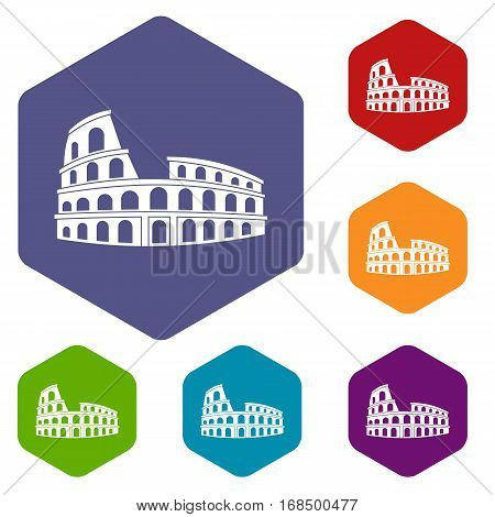 Roman Colosseum icons set rhombus in different colors isolated on white background