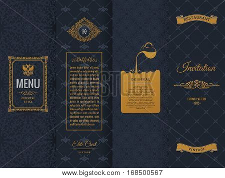 Vector set of design elements labels, icon, logo, frame, luxury packaging for the product. Vertical gold cards on a black background. Templates vintage postcards with gold foil