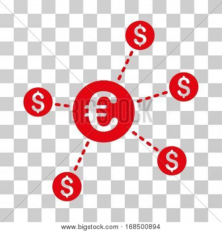 Currency Network Nodes icon. Vector illustration style is flat iconic symbol, red color, transparent background. Designed for web and software interfaces.
