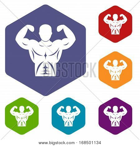 Athletic man torso icons set rhombus in different colors isolated on white background