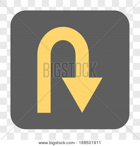 U Turn interface toolbar button. Vector icon style is a flat symbol on a rounded square button yellow and gray colors chess transparent background.