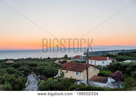 Amazing sunrise i Zakynthos Island taken fom the zante view