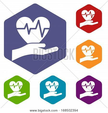 Hand holding heart with ecg line icons set rhombus in different colors isolated on white background