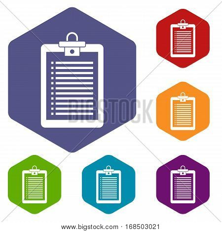 Clipboard with check list icons set rhombus in different colors isolated on white background