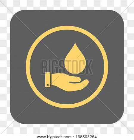 Water Service interface toolbar button. Vector icon style is a flat symbol inside a rounded square button yellow and gray colors chess transparent background.