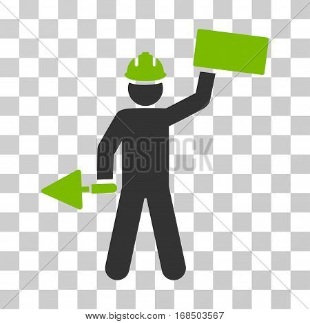 Builder With Brick icon. Vector illustration style is flat iconic bicolor symbol, eco green and gray colors, transparent background. Designed for web and software interfaces.