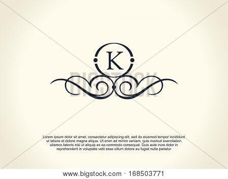 Calligraphic Luxury line logo. Flourishes elegant emblem monogram. Royal vintage divider design. Black symbol decor for menu card, invitation label, Restaurant, Cafe, Hotel. Vector line letter K