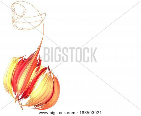An abstract orange peony on a white