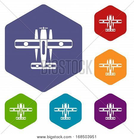 Ski equipped airplane icons set rhombus in different colors isolated on white background