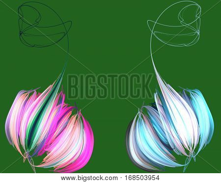 abstract pink blue peony on green background