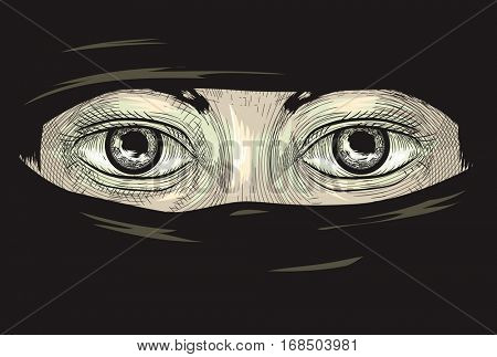 Illustration Featuring the Eyes of a Woman in a Niqab Drawn Using the Cross Hatching Technique