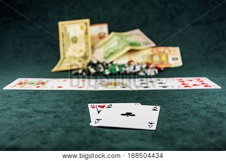 The combination of the cards is the poker on the poker table