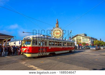 San Francisco, California, United States - August 14, 2016: vintage streetcar from Embarcadero to Fisherman's Wharf of San Francisco on Jefferson road in a sunny day. San Francisco urban street view.