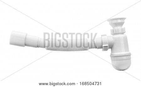 Plastic pipe with water trap, isolated on white