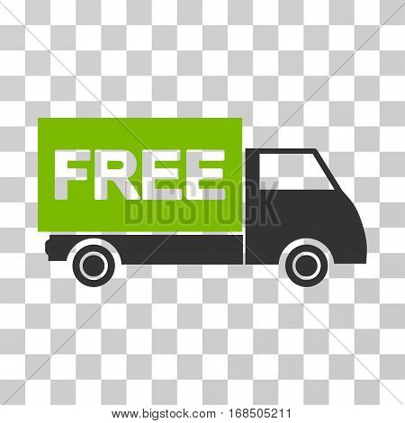 Free Shipment icon. Vector illustration style is flat iconic bicolor symbol, eco green and gray colors, transparent background. Designed for web and software interfaces.