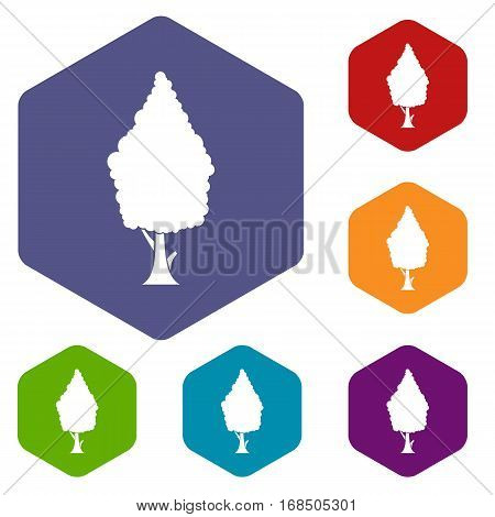 Cypress icons set rhombus in different colors isolated on white background