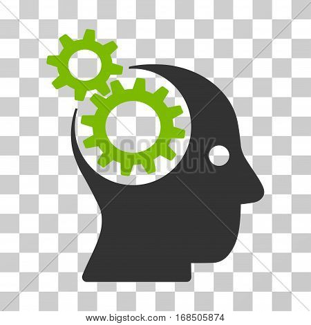 Intellect Gears icon. Vector illustration style is flat iconic bicolor symbol, eco green and gray colors, transparent background. Designed for web and software interfaces.
