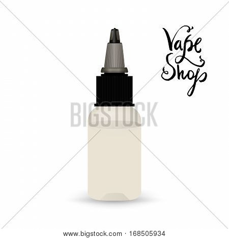 White vape bottle with liquid. Electronic cigarette accessorize, blank 3d object mockup for vaporizer design