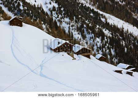 Houses on mountains at ski resort Solden Austria - nature and sport background
