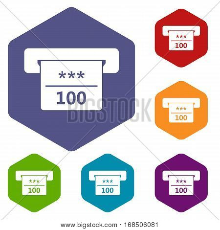 Winning cheque in casino icons set rhombus in different colors isolated on white background