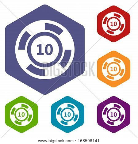Casino chip icons set rhombus in different colors isolated on white background