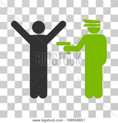 Police Arrest icon. Vector illustration style is flat iconic bicolor symbol, eco green and gray colors, transparent background. Designed for web and software interfaces.