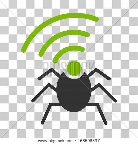 Radio Spy Bug icon. Vector illustration style is flat iconic bicolor symbol, eco green and gray colors, transparent background. Designed for web and software interfaces.