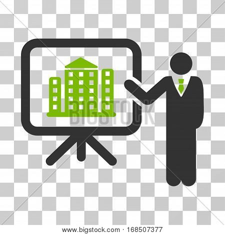 Realty Presention icon. Vector illustration style is flat iconic bicolor symbol, eco green and gray colors, transparent background. Designed for web and software interfaces.