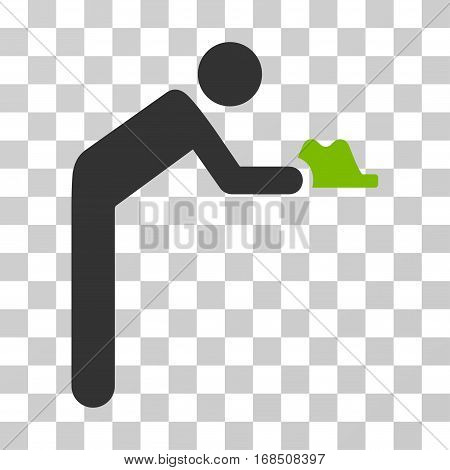 Servant icon. Vector illustration style is flat iconic bicolor symbol, eco green and gray colors, transparent background. Designed for web and software interfaces.