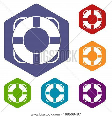 Lifeline icons set rhombus in different colors isolated on white background