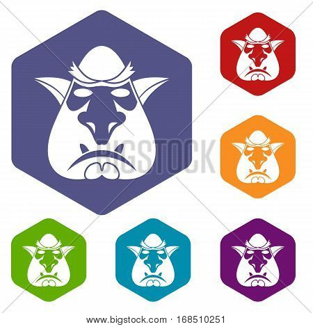 Head of troll icons set rhombus in different colors isolated on white background