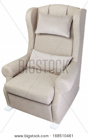 Single linen rocking chair upholstered fabric isolated on white background with clipping path.