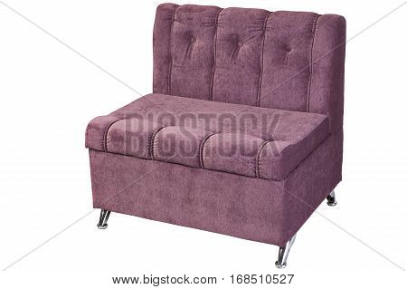 Folding bed chair upholstered light purple fabric isolated on white background with clipping path.