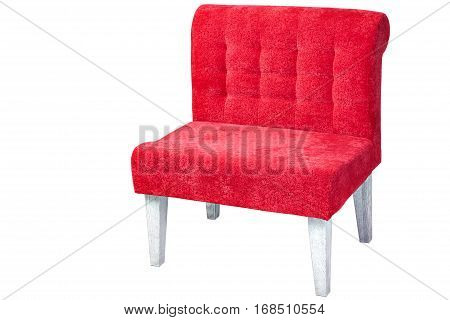 Wooden chair upholstered fabric of red isolated on white background with clipping path.