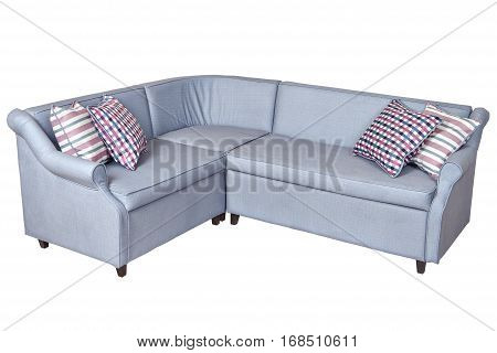 Corner sleeper sofa folding bed upholstered in fabric light gray color isolated on white background with clipping path saved.