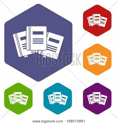 Three books with bookmarks icons set rhombus in different colors isolated on white background