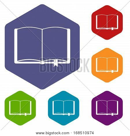 Open book with bookmark icons set rhombus in different colors isolated on white background