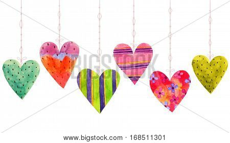 Lovely Cartoon Watercolor seamless love hearts valentines pattern items of a collection and illustrations isolated on white background. Perfect for valentines holiday. Good for love card valentine day congratulation design.